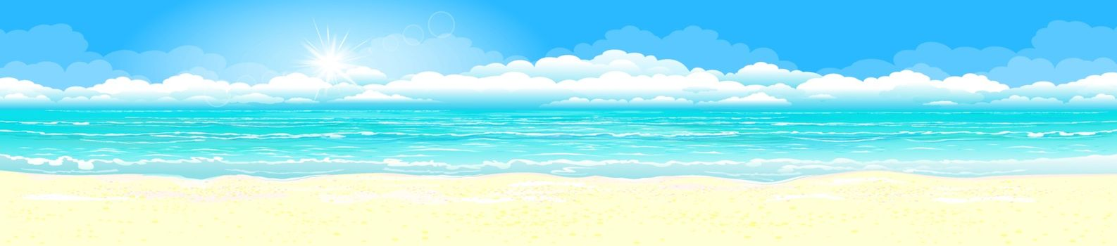 Sandy coast of the azure ocean