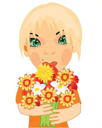 Making look younger girl with bouquet flower on white background is insulated