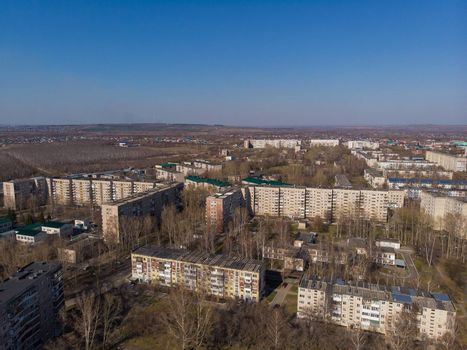 Aerial view of a Zarinsk town in summer landscape, Altai, Siberia, Russia,