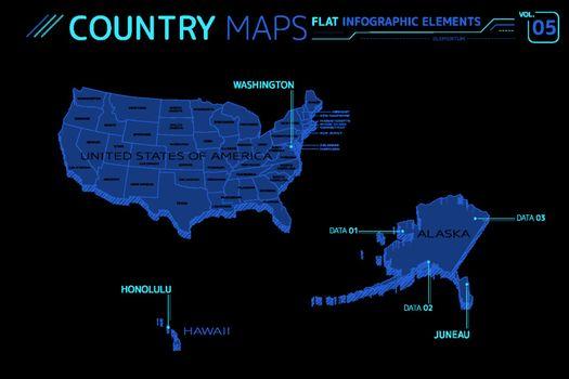 United States of America, Hawaii and Alaska Vector Maps