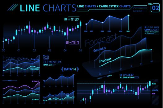 Line Charts and Area Charts Infographic Elements