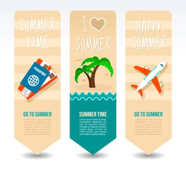 Passport and ticket, airplane and palm tree. Summer Travel and vacation vector banners. Summertime. Holiday