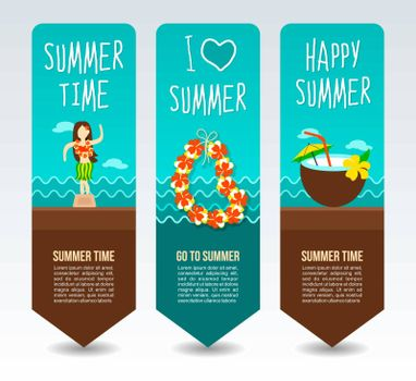 Necklace wreath flower, beach coconut drink cocktail and hula dancer statuette. Summer Travel and vacation vector banners. Summertime. Holiday