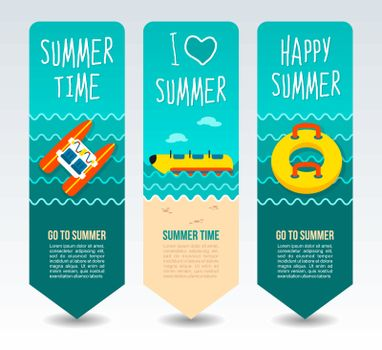 Pedalo boat, banana and towable water tube. Summer Travel and vacation vector banners. Summertime. Holiday