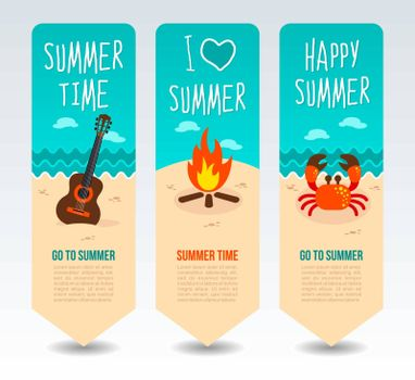 Guitar, bonfire and crab. Summer Travel and vacation vector banners. Summertime. Holiday