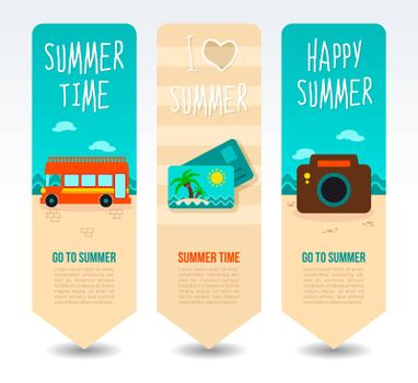 Photo camera, post card palm and sightseeing bus double decker. Summer Travel and vacation vector banners. Summertime. Holiday