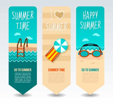 Ladder swim pool, goggles, lounge chaise and umbrella. Summer Travel and vacation vector banners. Summertime. Holiday