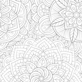 A cute zen mandala image for relaxing activity.A coloring book,page for adults.Zen art style illustration for print.Poster design.