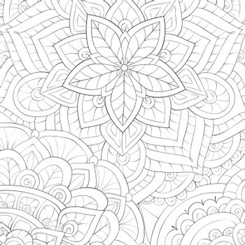 A floral abstract background image for relaxing activity.A coloring book,page for adults.Zen art style illustration for print.Poster design.