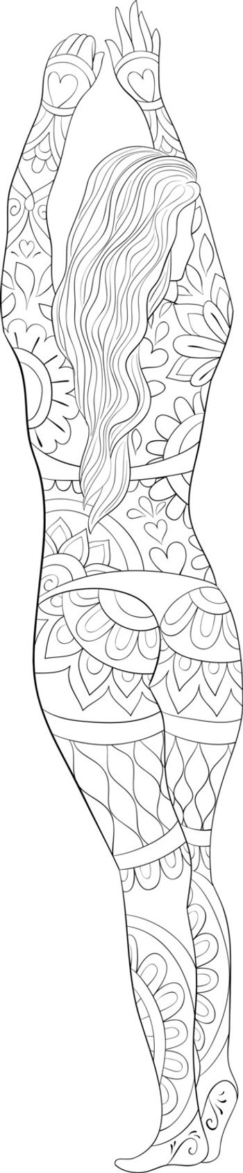A cute girl with ornaments image for relaxing activity.Coloring book,page for adults.Zen art style illustration for print.Poster design.