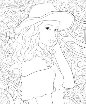 A cute girl wearing a hat on the abstract background with ornaments image for relaxing activity.Coloring book,page for adults.Zen art style illustration for print.Poster design.