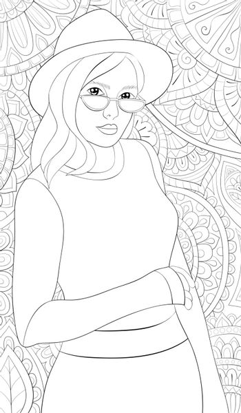 A cute girl wearing a hat and sunglasses on the abstract background with ornaments image for relaxing activity.Coloring book,page for adults.Zen art style illustration for print.Poster design.