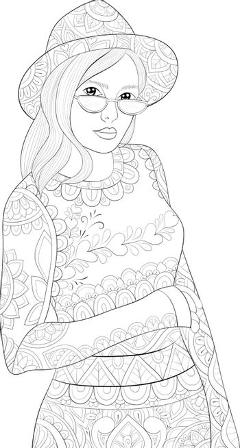 A cute girl wearing a hat and sunglasses  with ornaments image for relaxing activity.Coloring book,page for adults.Zen art style illustration for print.Poster design.
