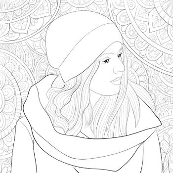 A cute girl wearing a cap on the abstract background with ornaments image for relaxing activity.Coloring book,page for adults.Zen art style illustration for print.Poster design.