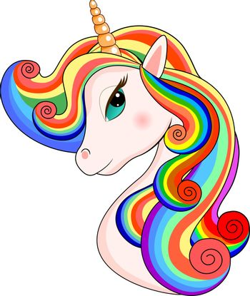 Head of a unicorn with a multi-colored mane on a white background.