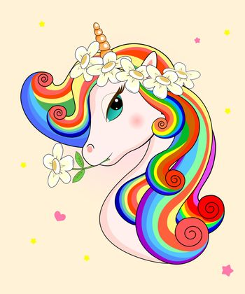 Beautiful unicorn with flowers on his head on a beige background. Head of a unicorn with a multi-colored mane.