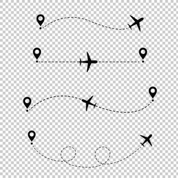 Airplane In The Dotted Line Transparent Background