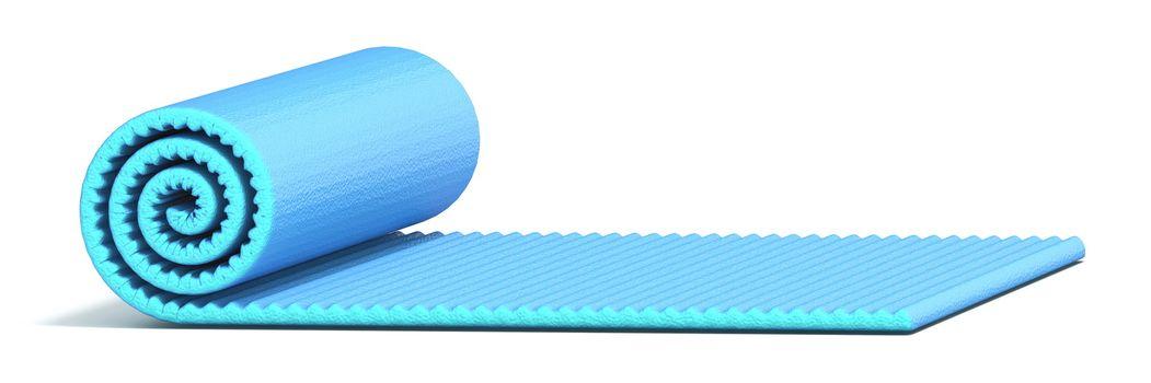 Blue half rolled yoga mat 3D render illustration isolated on white background