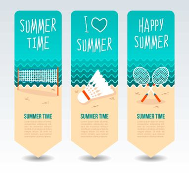Badminton racket, shuttlecock and net. Summer Travel and vacation vector banners. Summertime. Holiday