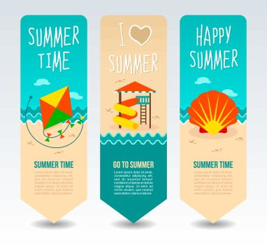 Wind kite, seashell and aqua park. Summer Travel and vacation vector banners. Summertime. Holiday
