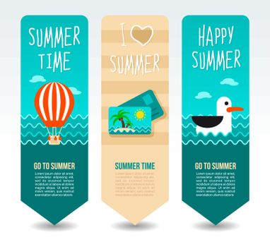 Seagull, hot balloon and post card. Summer Travel and vacation vector banners. Summertime. Holiday