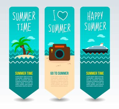 Photo camera, tropical island palm tree and cruise liner. Summer Travel and vacation vector banners. Summertime. Holiday