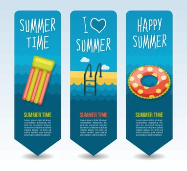Inflatable beach mattress, swimming circle and ladder swimming pool . Summer Travel and vacation vector banners. Summertime. Holiday