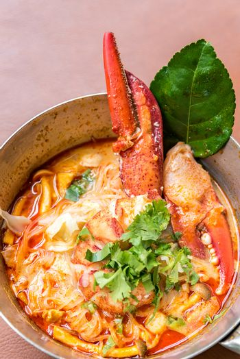 Lobster Tom yum spicy rice noodles