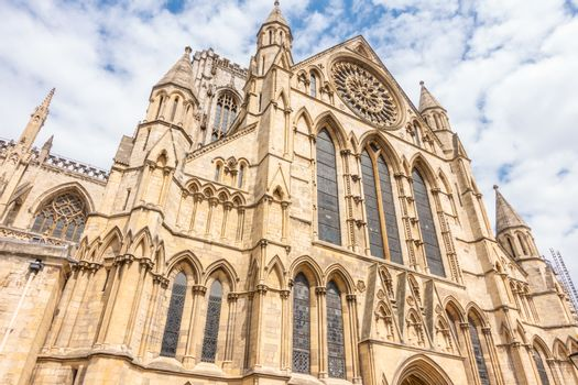 York minster Cathedral with cloudy blue sky, York, England UK.