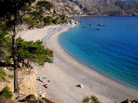 Beautiful Carpathos island beach background wallpaper fine art