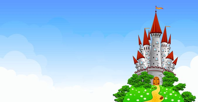 Cartoon castle on the hill. Old gray castle. Landscape with a castle against the blue sky and white clouds.