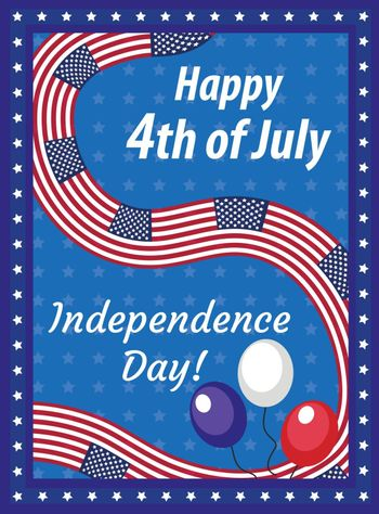 Happy 4th july greeting card, poster. American Independence Day template for your design. Vector illustration.