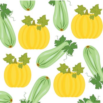 Decorative pattern from vegetables melon and marrow on white background