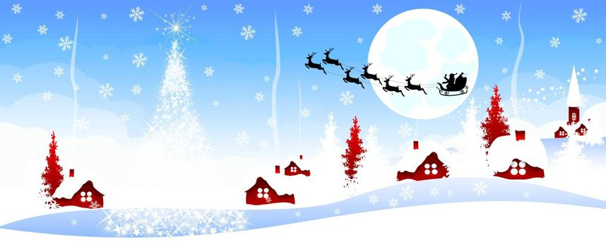 Christmas banner. Night scene of Christmas in the village on a blue background. Village in winter.