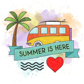 Watercolor summer holiday poster. Summer banner. Vector.