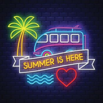 Summer is here. Summer holiday banner. Neon banner. Neon sign. Vector.
