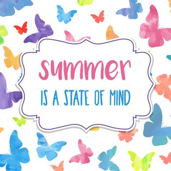 Summer is a state of mind. Watercolor banner with butterflies