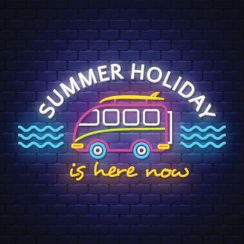 Summer caravan, Summer holiday banner. Neon banner. Neon sign. Vector.
