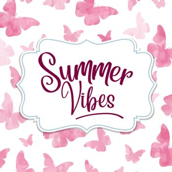Summer vibes. Watercolor banner with butterflies