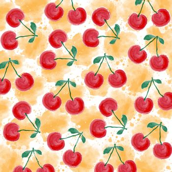 watercolor summer background with cherries