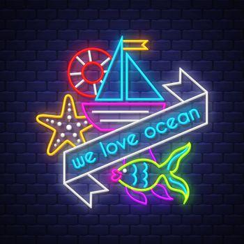 Summer holiday poster. Neon summer banner. Vector.