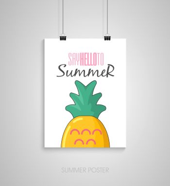 Summer poster with pineapple. Say hello to summer