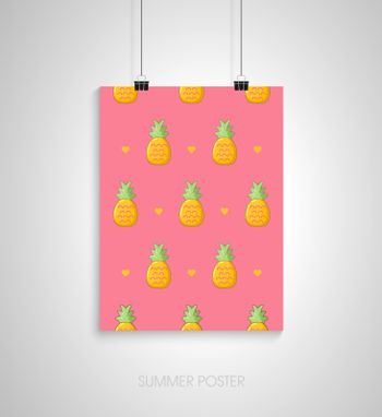 Summer poster with pineapple. Vector pattern