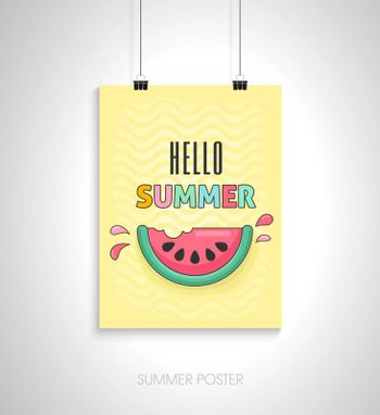 Summer flyer card with slice watermelon. Hello summer. Journal cards. Vector illustrations for t-shirt, poster prints. Holiday, travel, vacation theme