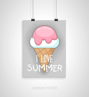 Summer flyer card with ice cream. I love summer. Journal cards. Vector illustrations for t-shirt, poster prints. Holiday, travel, vacation theme