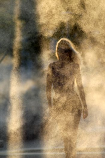 mysterious silhouette of a beautiful girl on a smoky background.