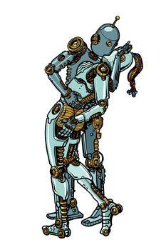 Loving couple robots kissing