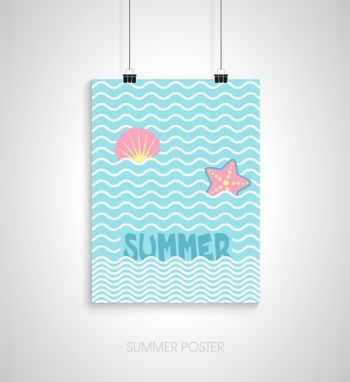 Summer flyer card with starfish and seashell. I love summer. Journal cards. Vector illustrations for t-shirt, poster prints. Holiday, travel, vacation theme