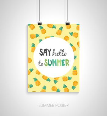 Summer poster card. Say hello to summer