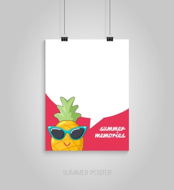 Summer flyer card with pineapple in sunglasses and text bubble. Summer memories. Journal cards. Vector illustrations for t-shirt, poster prints. Holiday, travel, vacation theme
